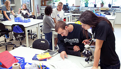 Students learning in a laboratory setting